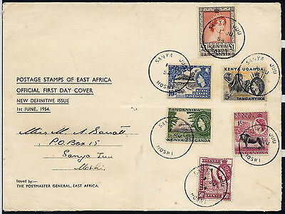 KUT QE2 1954 HIGH VALUES ON POSTMASTER PRINTED 1st DAY COVER, RARE SANYA JUU CDS