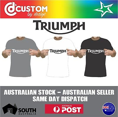 Triumph Classic Logo T-shirt Motorcycle Vintage Classic Bike Racer Indian
