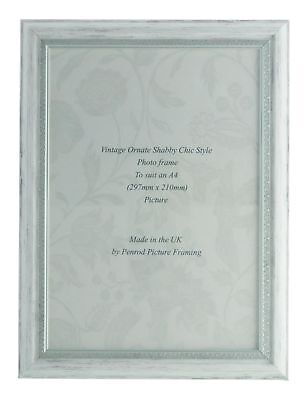 Handmade Ornate Distressed White and Silver Shabby Chic Vintage A4 Photo Frame