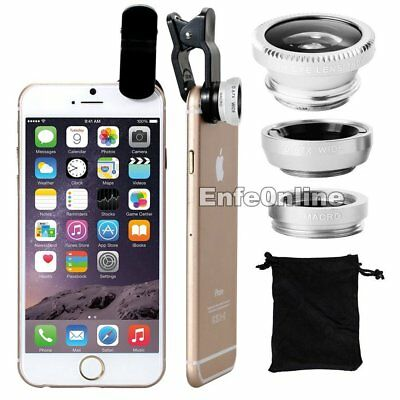 For Camera Lens silvery Universal 3in1 Clip On Kit Macro Wide Angle Fish Eye