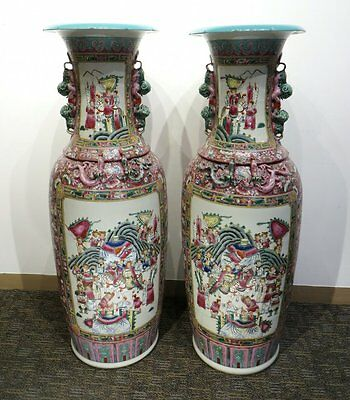 "48"" Large Pair of Huge Chinese Famille Jaune Figure Floor Porcelain Vase"