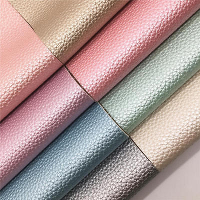 Soft Pearl Lustrous Lychee Faux Leather Fabric Vinyl Bags Craft Material Decor