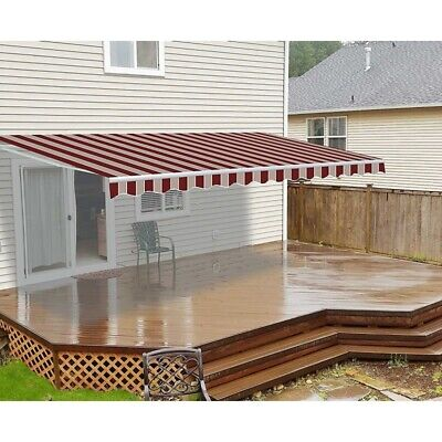 ALEKO Motorized Retractable Patio Awning 20 X 10 Ft Multistripe Red Color