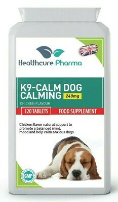 K9-Calm Dog Calming 120 Chicken Flavour Tablets Anxiety Hyperactivity Support UK