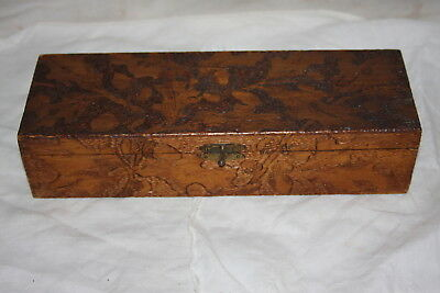 Vintage Wood Burned Pyrography Acorn Tree Branch Trinket Box