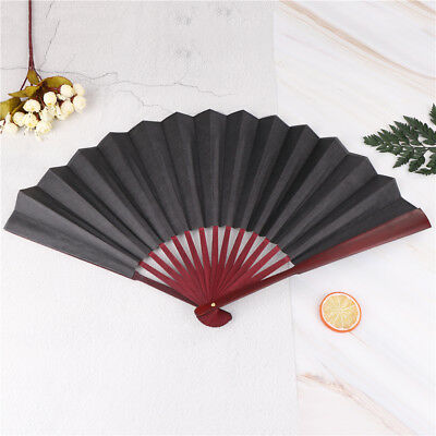 men's black spun silk calligraphy painting writing dancing folding hand fan HQDE