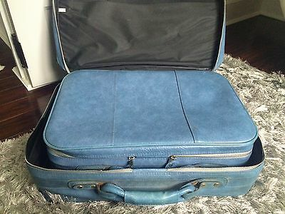 """Vintage Soft Nesting Suitcases Blue! Two Sizes: 20""""x13""""/23""""x15""""! Retro! Cool!"""