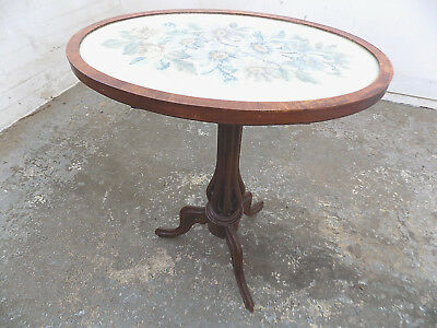 oval,taperstry,tilt top,side table,end table,tripod base,table,antique,victorian