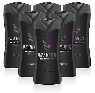 "6 x Lynx ""Excite"" Shower Gel Refreshing Men's Body Wash  250ml FREE POSTAGE"