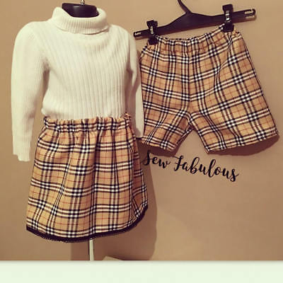 Handmade Baby Girls Boys Skirts Shorts Clothes New UK Caramel Check Lot Tartan