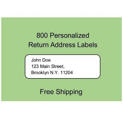 Return Labels 800 Printed Personalized Return Address Labels - 1/2 x 1 3/4 Inch