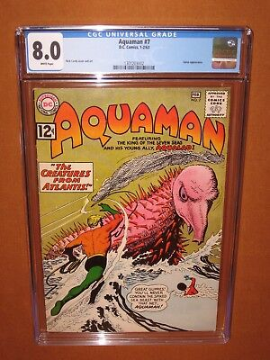 Aquaman #7  CGC 8.0  (it looks GREAT!) WHITE pages! 1963 12 HD pix Ships INSURED