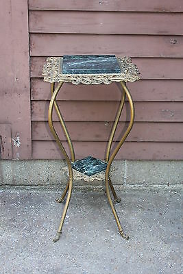 Victorian Plant Stand Cast Iron Brass & Marble 2 Tier GREEN Marble Inserts !