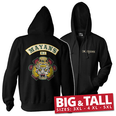 Official Licensed Mayans M.C Backpatch Zipped Hoodie Big & Tall 3XL,4XL,5XL