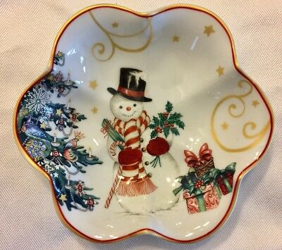 """WILLIAMS SONOMA TWAS THE NIGHT BEFORE CHRISTMAS 7"""" CANDY NUT BOWL Snowman NEW !"""