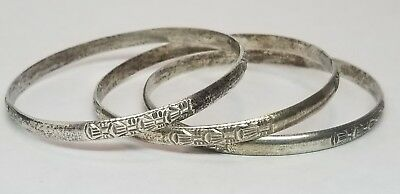 3 Vintage Chinese Asian Solid Sterling Silver Stacking Bangle Bracelets 41 6g