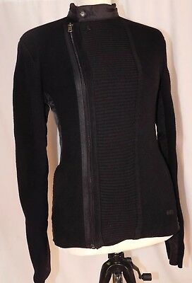 Armani Exchange NEW Black Womens Size XS Moto Knit Jacket $170