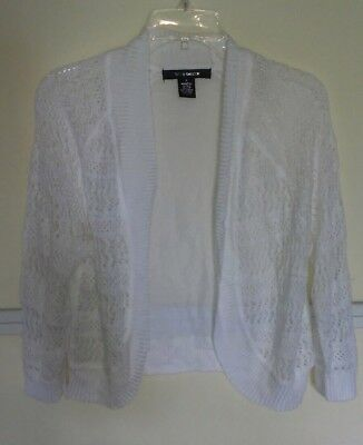 Womens 89th Madison Coral White Light Open Front Cardigan Sweater