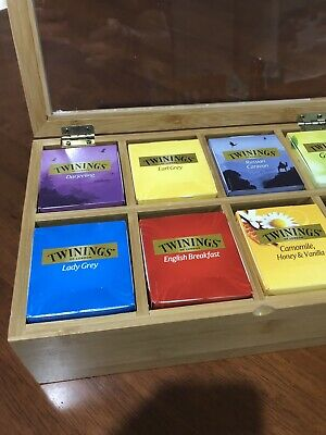 Tea Chest -Wood / 9 Compartment + Bonus 9 Boxes of TWININGS 10 Tea Bags