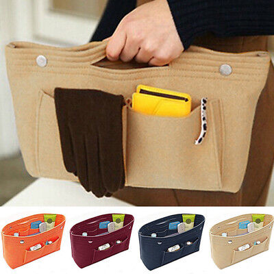 Women Cosmetic Makeup Bag Organizer Bag Felt Multi Pocket Insert Tote Handbag SE
