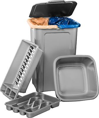 HOME 4 Piece 45L Plastic Kitchen Bin Set - Matt Silver