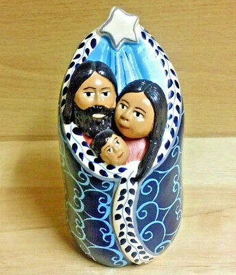 Nativity Family in a Modern Design Ceramic Folk Art Handmade in Peru