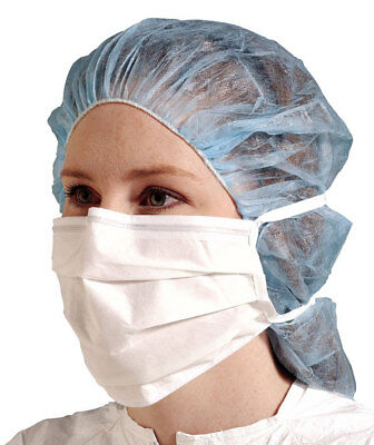 50 Disposable 3-Ply Tie-On Face Masks. Surgical-Dental-Dust-Nail-Flu-Safety