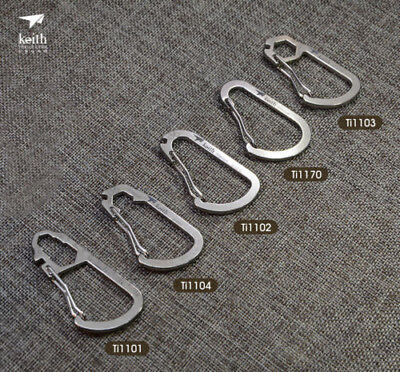 Camping Titanium D-Ring Carabiner Key Chain Clip Bottle Hook Lock Buckle Spanner