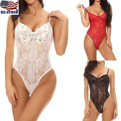 Women Lingerie Deep V Neck Lace Jumpsuit Babydoll Sleepwear Underwear Bodysuit