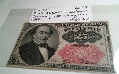 1874 US 25cent Currency Fractional Note UNC.