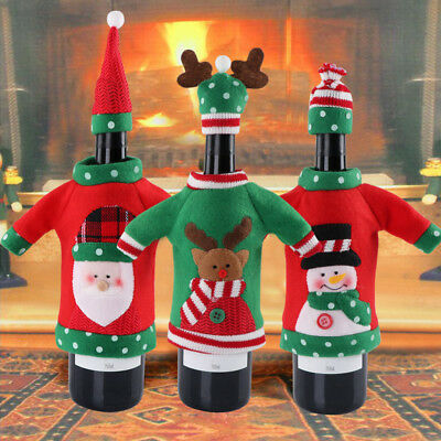 Christmas Red Wine Bottle Cover Bags Dinner Table Home Party Decor Snowman