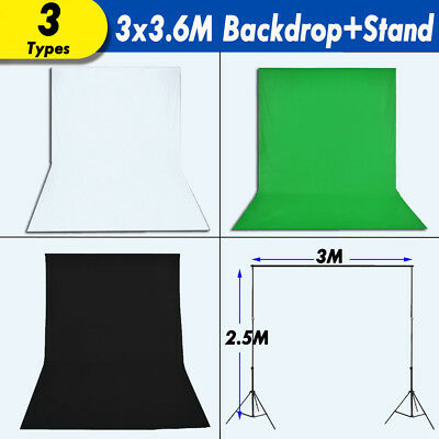 3x3.6m Photography Backdrop Black Whtie Green Background Screen Support Stand AU