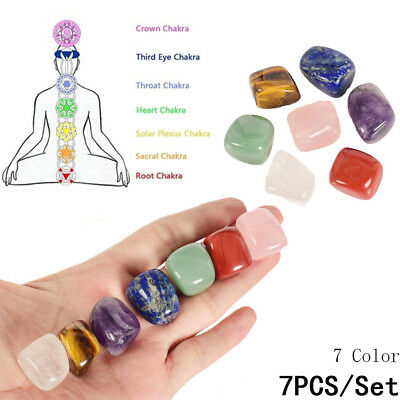7 Pcs Colorful Natural Chakra Stones Palm Stone Reiki Healing Crystals Gemstones