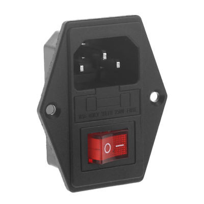 Newly Inlet Module Plug Fuse Switch Male Power Socket 10A 250V 3 Pin IEC320 C14