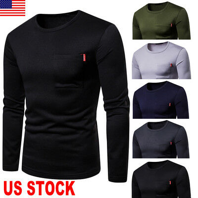 Wool Mens T Shirt Slim Fit O Neck Muscle Top Long Sleeve Plain Cotton Autumn Gym