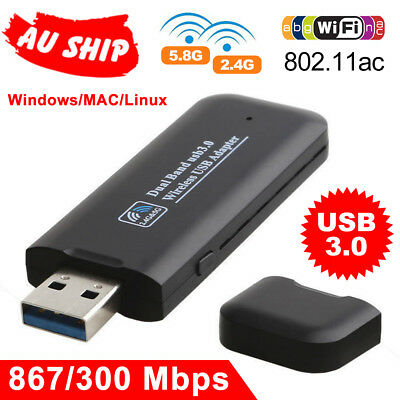 1200Mbps USB 3.0 Wireless WiFi Network Receiver Card Adapter For PC Desktop