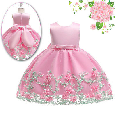 UK Toddle Girls Princess Flower Lace Kids Party Bridesmaid Birthday Prom Dress
