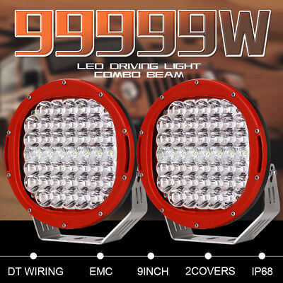 Pair 9inch 99999W Cree Round LED Driving Lights COMBO BEAM Work Lights Offroad