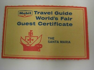 1964-65 New York World's Fair  Mobil Travel Guide Santa Maria Entry Ticket-Rare!