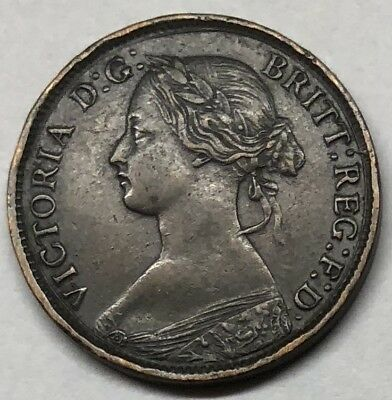 1860 Uk / Great Britain Beaded Farthing Coin