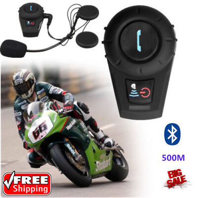 500M VB BT Motorcycle Helmet Bluetooth Interphone Intercom Headset GPS MP3 UK