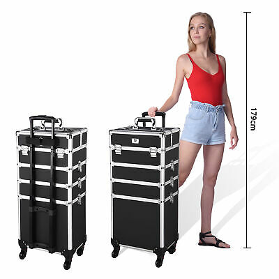 4in1 Rolling Aluminum Makeup Artist Cosmetic Train Case Box w/ Handle & Lock