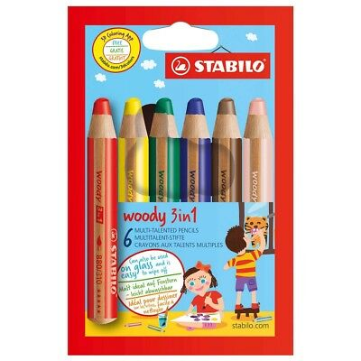 Stabilo Multitalentstift woody 3 in1 Buntstift Wasser und Wachsmaler 6er Karton