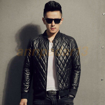 Mens Pu Leather Stand Collar Jacket Slim Fit Jacket Top Coat Outwear Casual