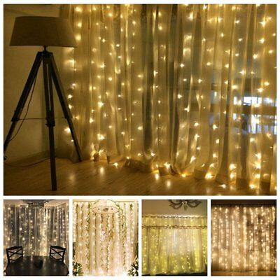 100-240V 6x3M 304 600 LED Icicle String Fairy Curtain Lights Wedding Waterfall
