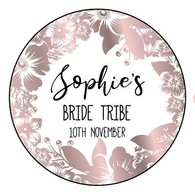 Personalised Hen Night Party Stickers-Floral Rose Gold Print Effect Labels
