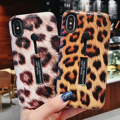 Leopard Ring Holder Stand Hybrid Phone Case For iPhone XS Max XR X 8 7 6S 6 Plus