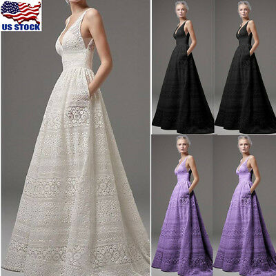 Women V-neck Long Prom Party Dress Formal Evening Gowns Mermaid Wedding Dress US