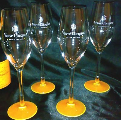 Veuve Clicquot Ponsardin Champagne Flute With  Orange Base X 4 New Unboxed