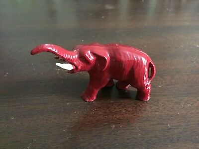 "Vintage Small Red Cast Metal Elephant 3"" Long 2 1/2"" High"